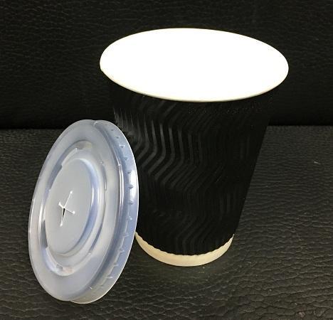 12安士8安士雙層隔熱紙杯配黑  白色凸蓋
