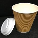 12安士8安士雙層隔熱紙杯配黑  白色凸蓋 (2)