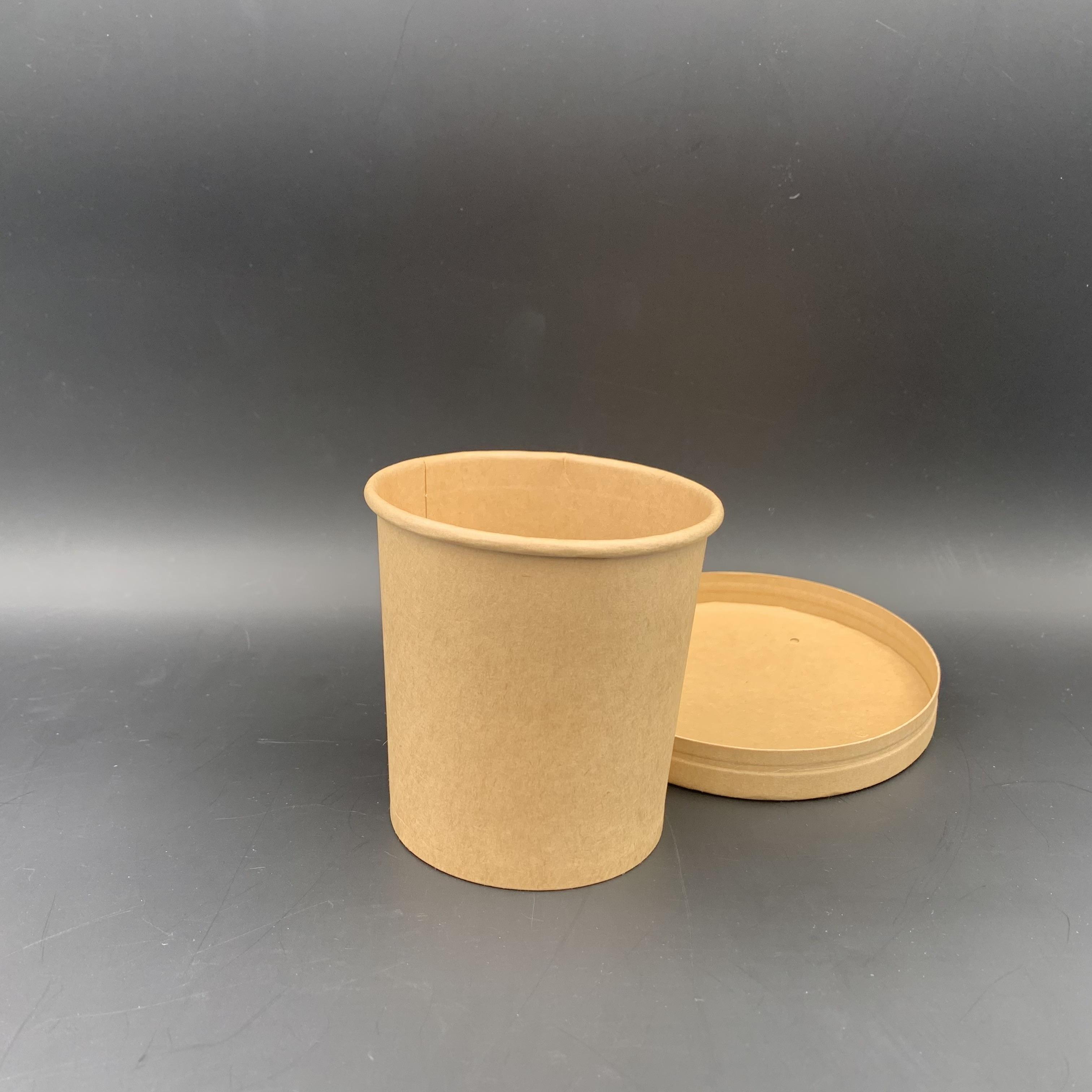 16oz 牛皮紙湯桶配紙蓋